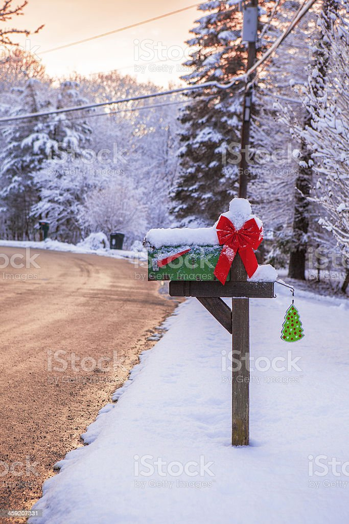 Mailbox on a snowy day stock photo