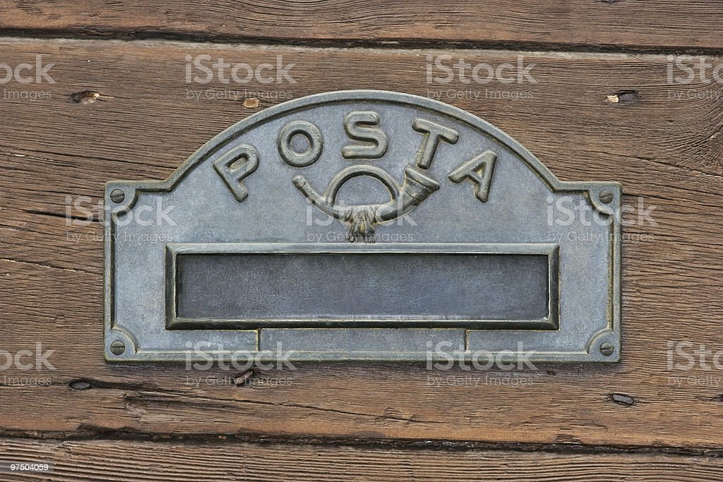 Mailbox on a Wood Background, Mail Symbol stock photo