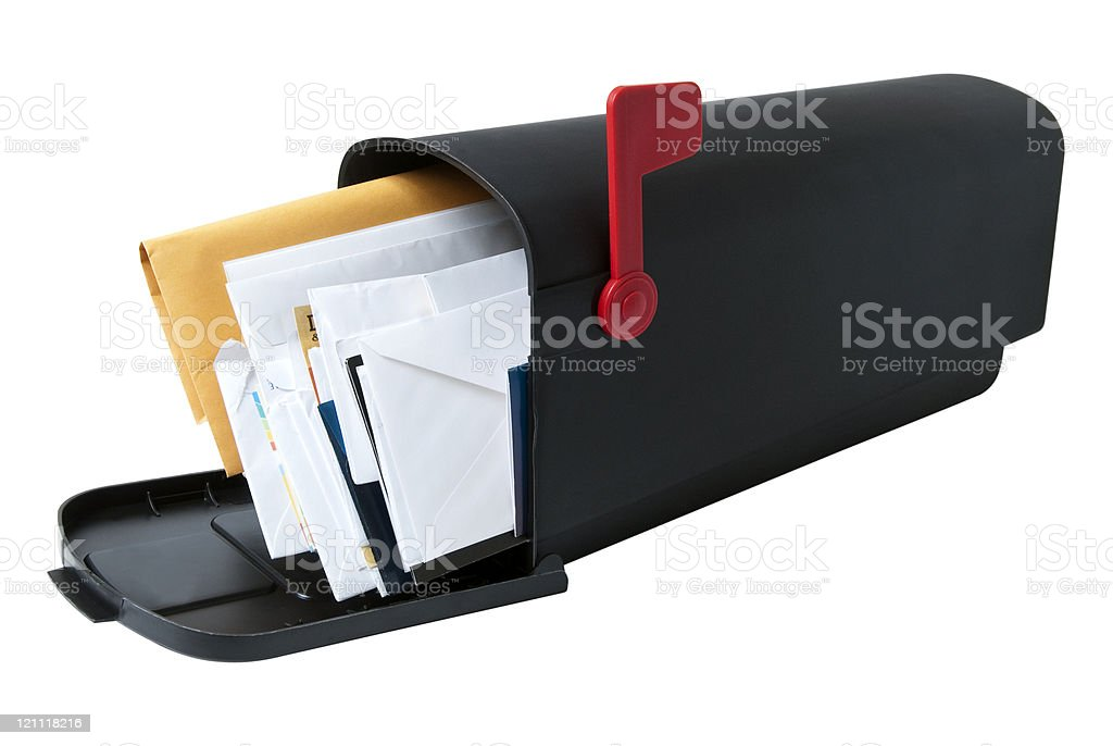A mailbox open filled with mail stock photo