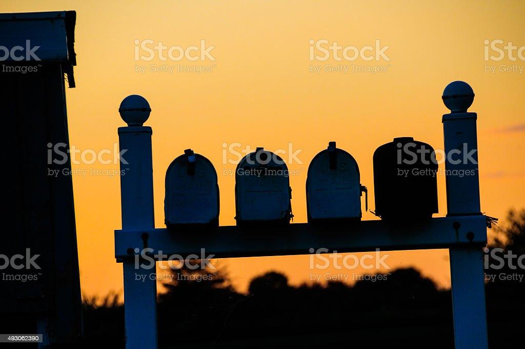 Mailbox Silhouettes stock photo