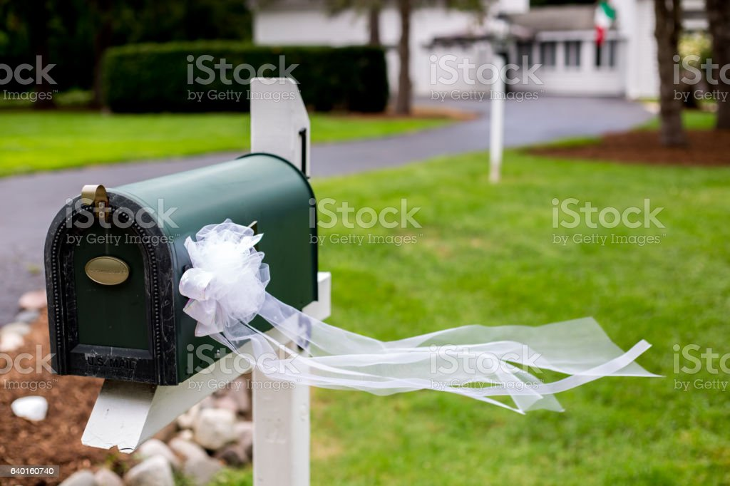 Mailbox with Bow stock photo