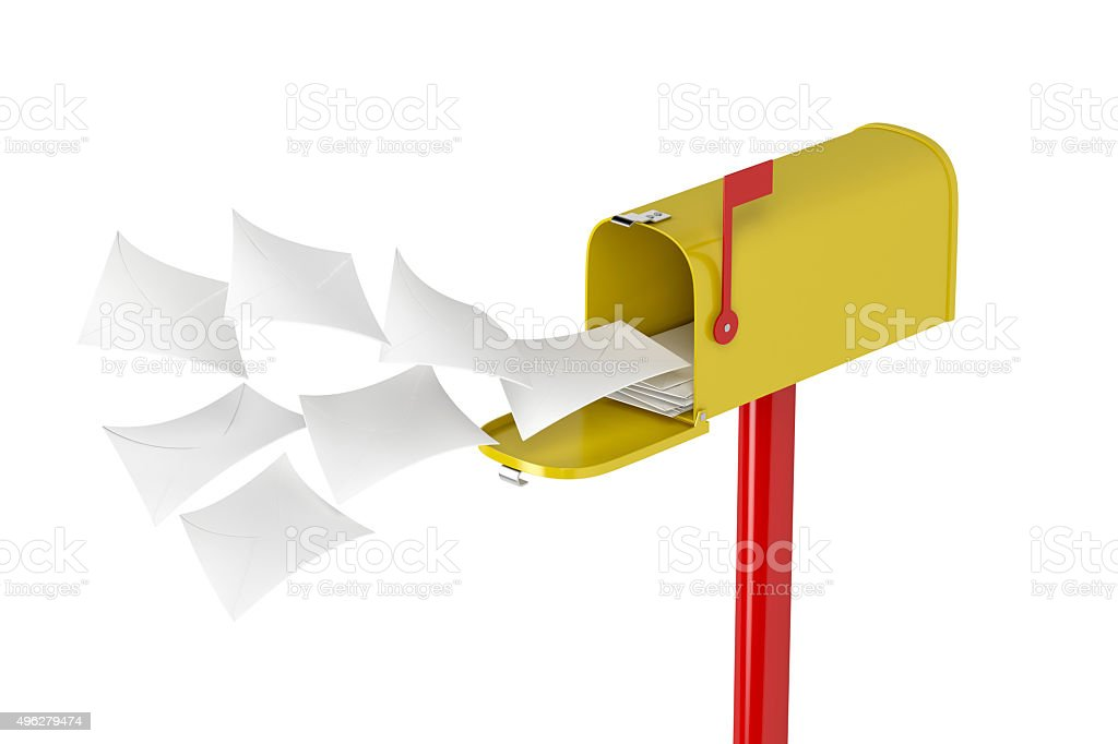 Mailbox with flying letters stock photo