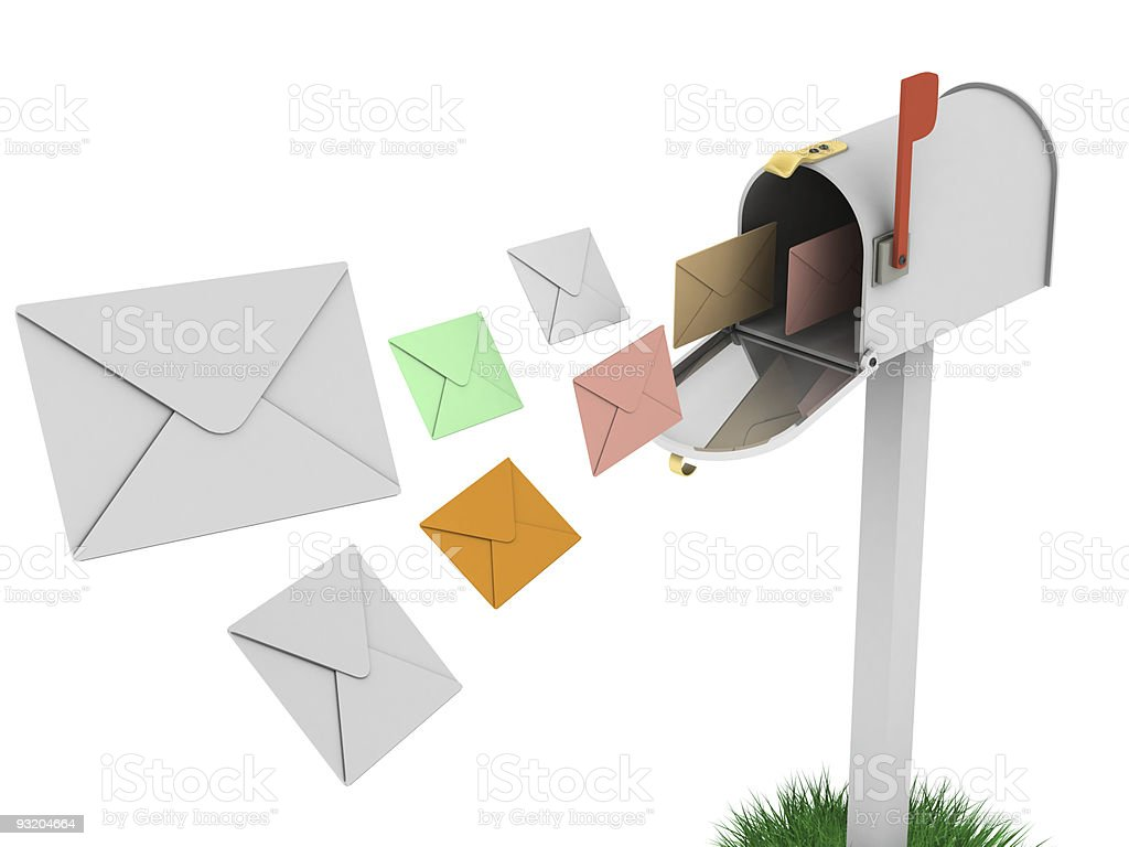 Mailbox with flying letters royalty-free stock photo