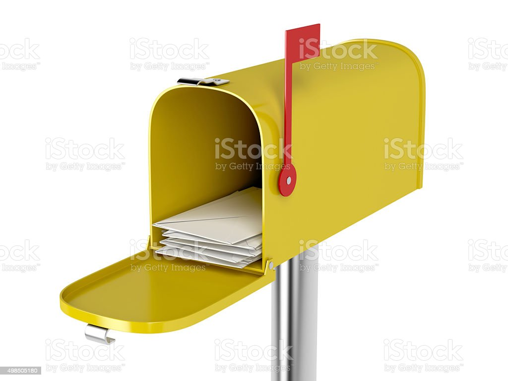 Mailbox with mails stock photo