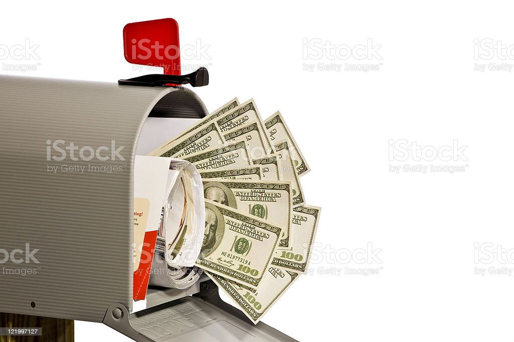 Mailbox With Money stock photo