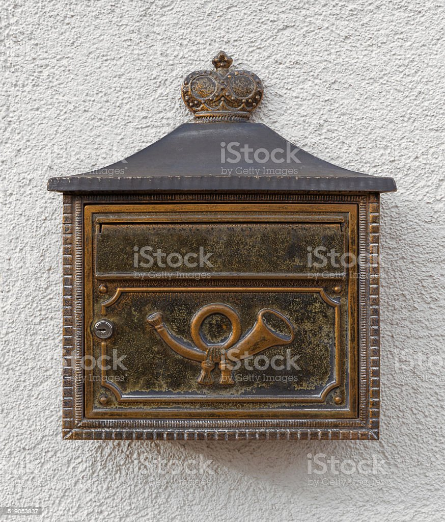 Mailbox with posthorn royalty-free stock photo
