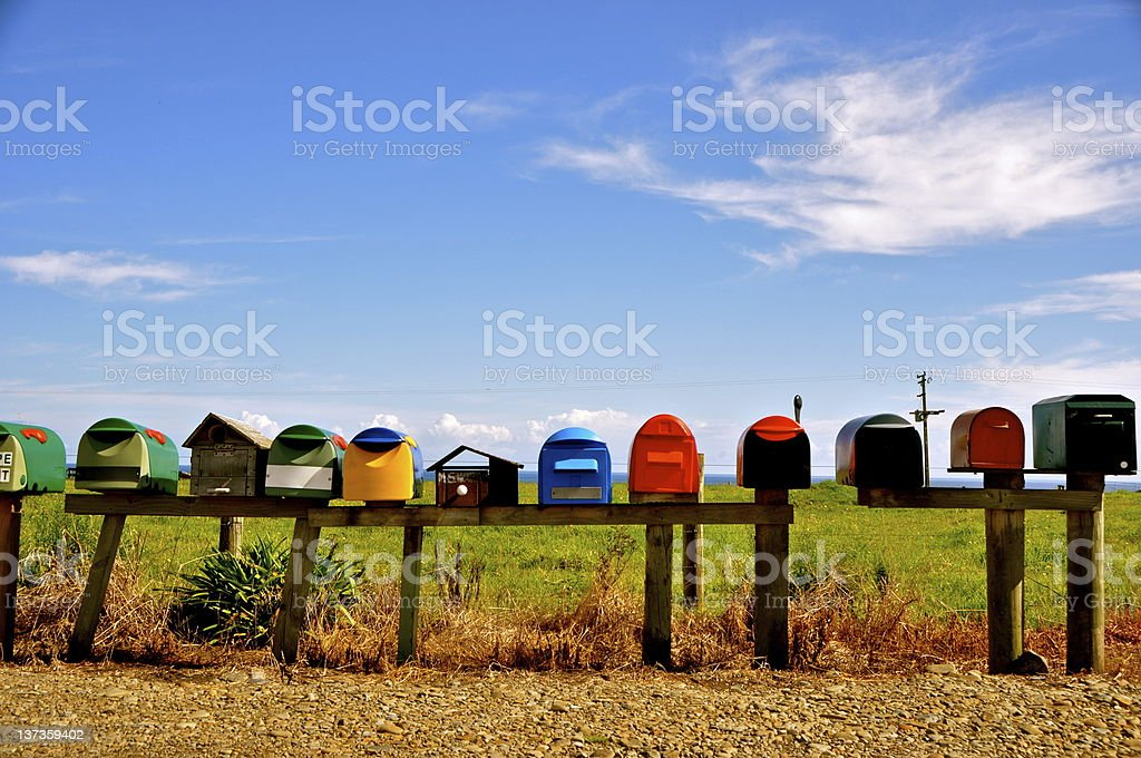 Mailboxes - Coromandel Peninsula, NZ royalty-free stock photo