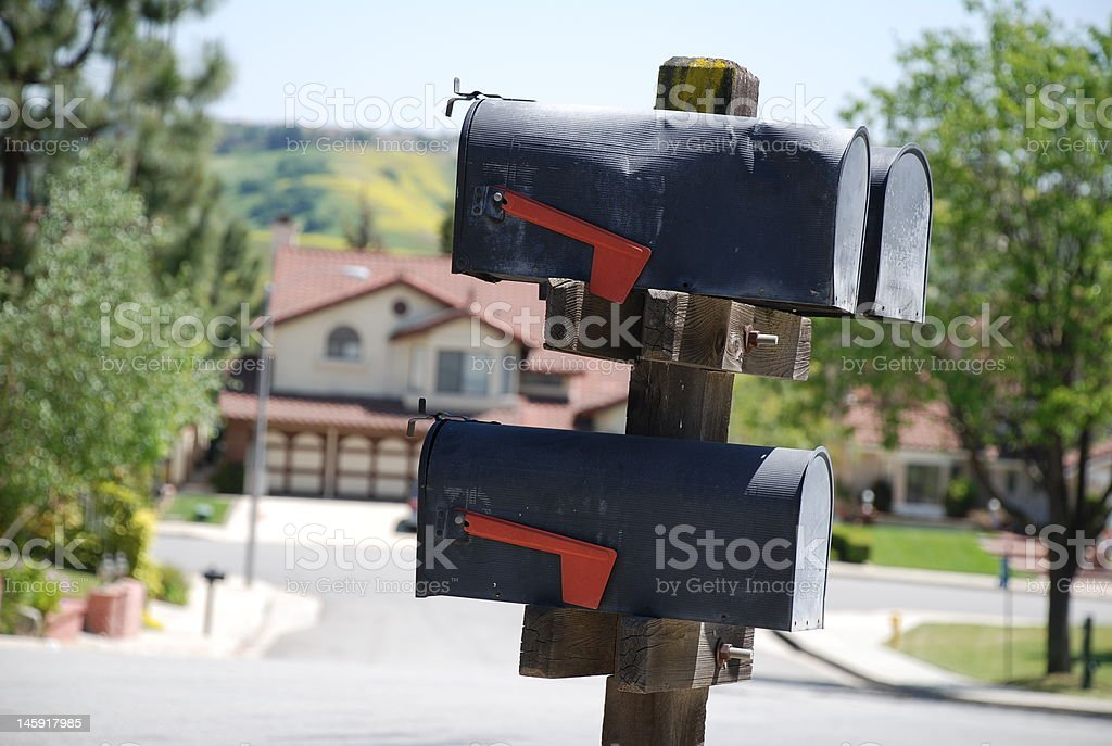 mailboxes on a street royalty-free stock photo