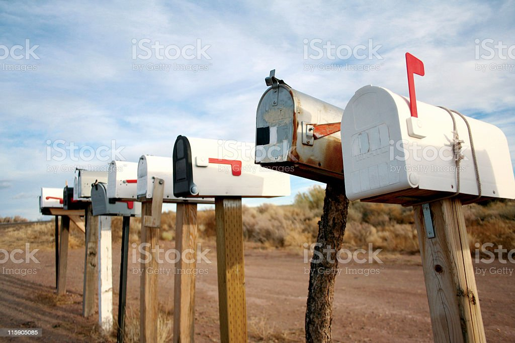 mailboxes waiting to be fed stock photo