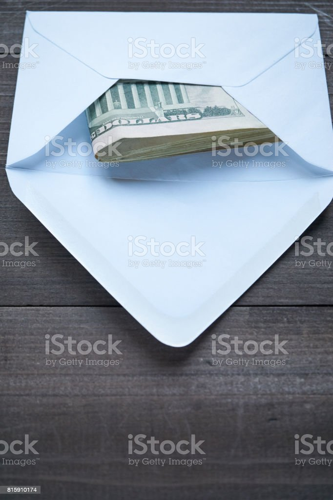 mailing envelope with the pack usd cash inside stock photo
