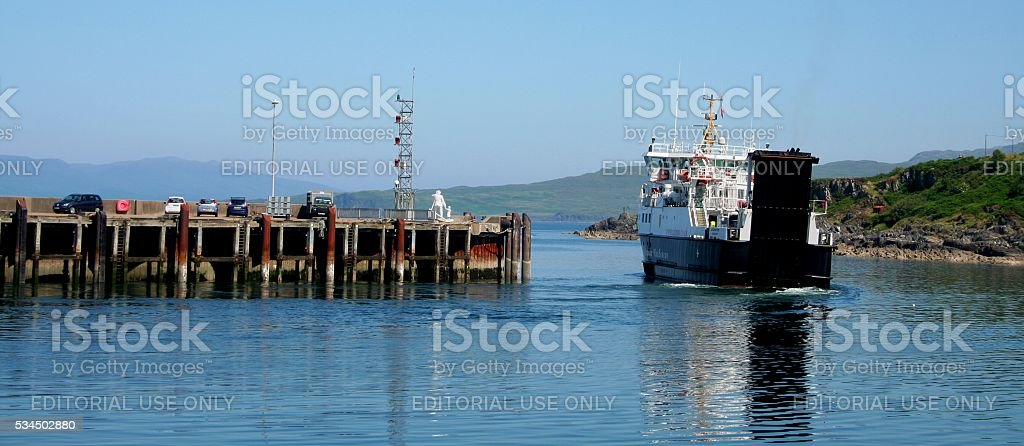 Maillag Scotland leaving ferry to Hebrides islands pier stock photo