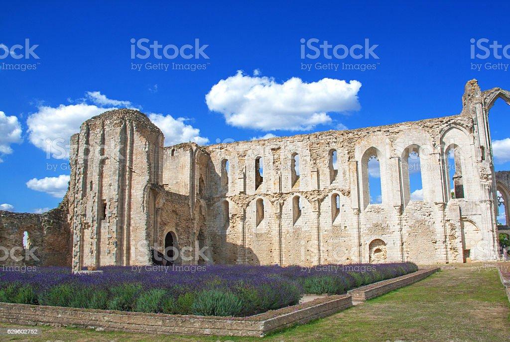 Maillezais. Ruines de la cathédrale saint Pierre, Vendée, Pays de Loire stock photo