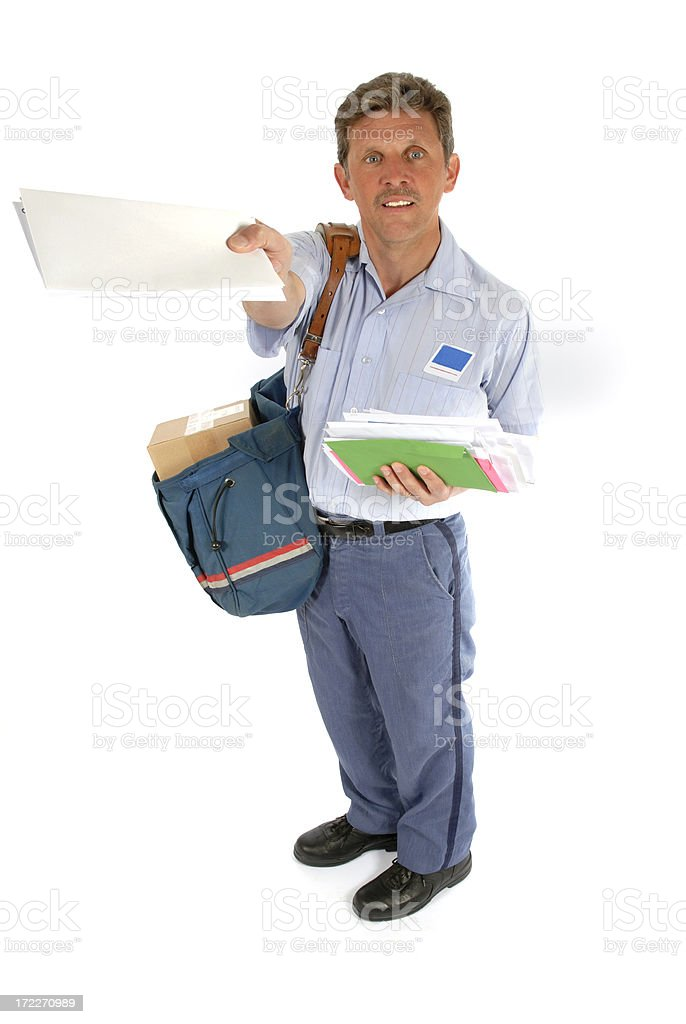 Mailman offering mail to a customer stock photo