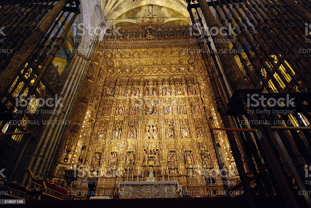 Main altar in the cathedral of Sevilla, Spain stock photo