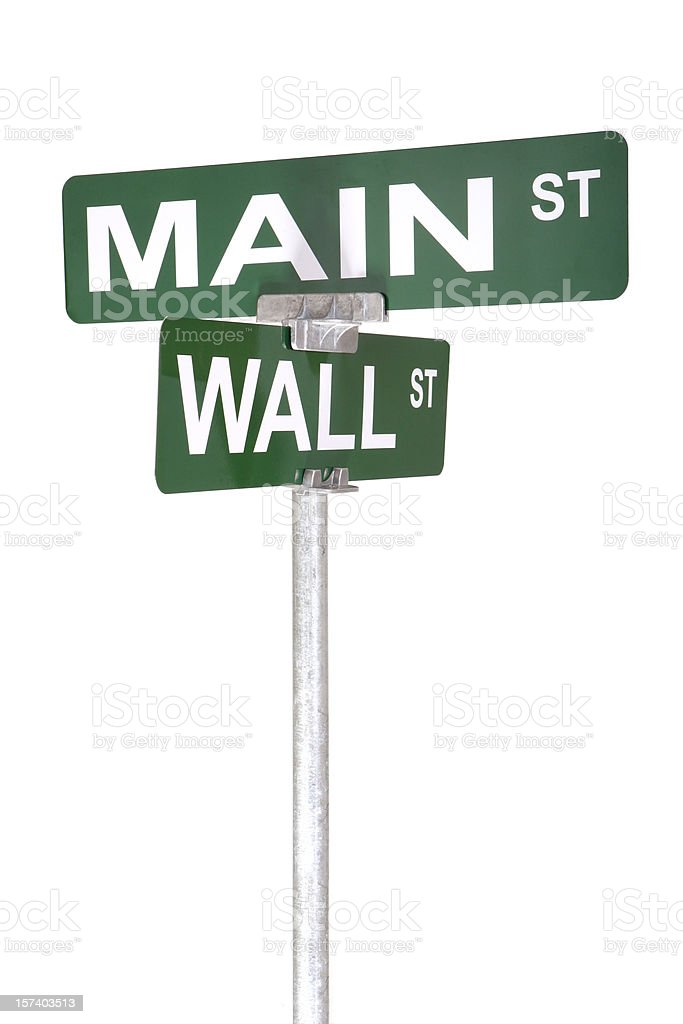 Main and Wall Street royalty-free stock photo