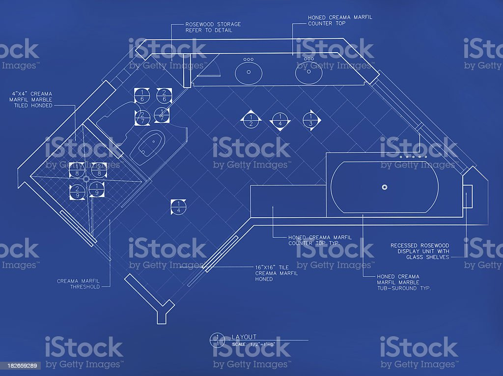 main bathroom blueprint royalty-free stock photo