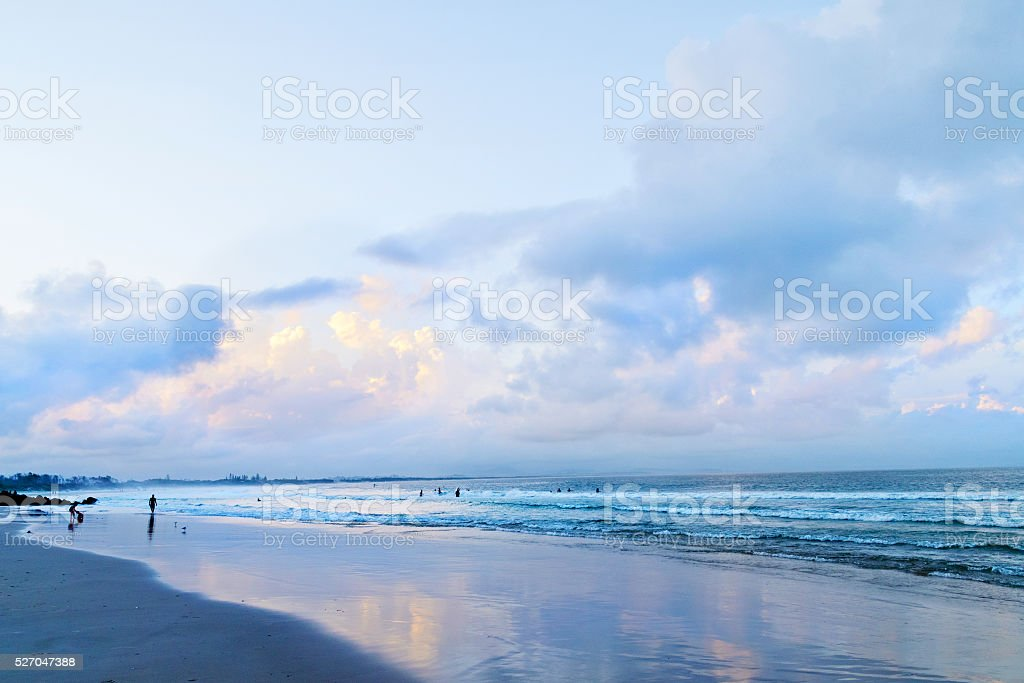 Main beach in Byron Bay after sunset, Australia stock photo