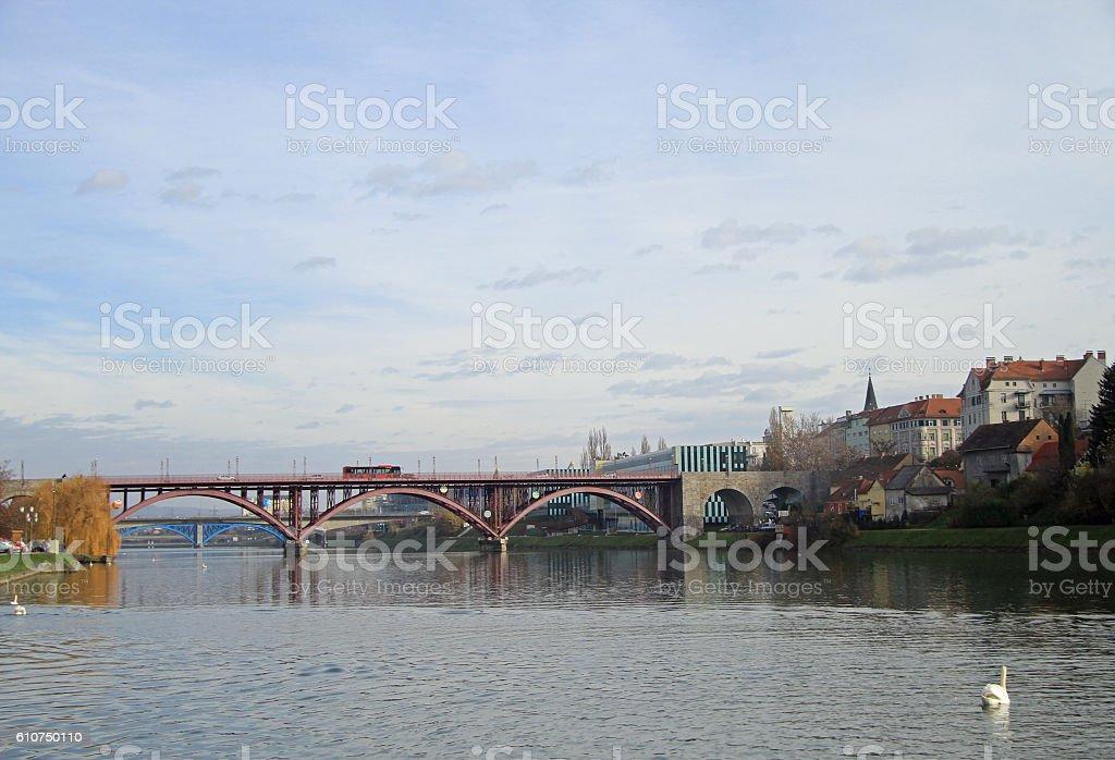 Main bridge over the Drava river in Maribor stock photo