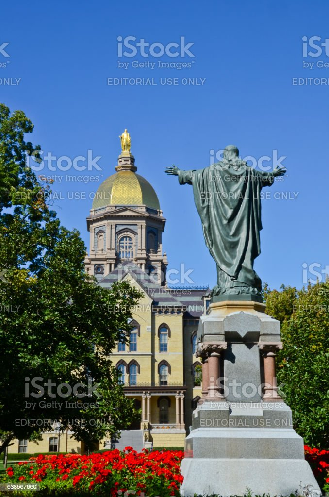 Main Building at University of Notre Dame stock photo