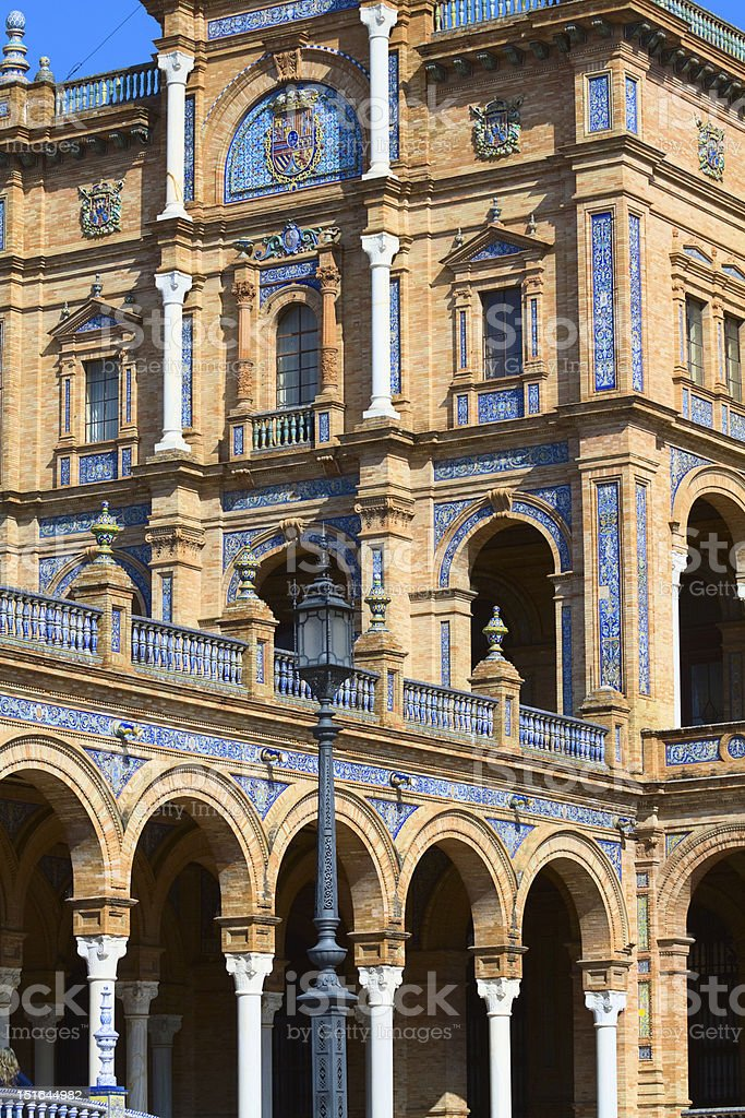 Main building of Plaza de Espa?a in Sevilla royalty-free stock photo