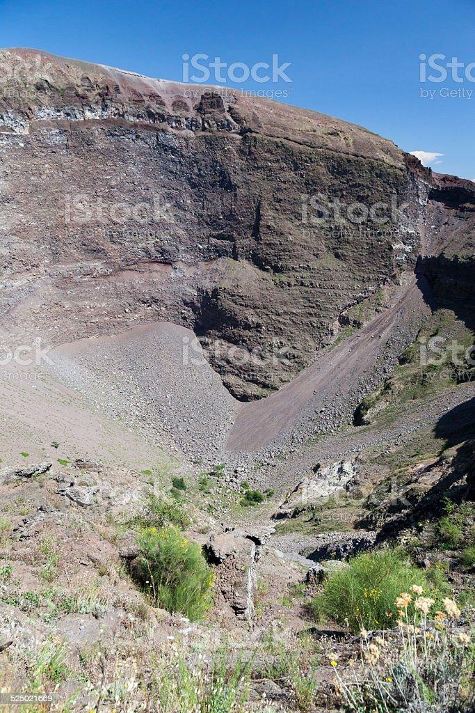 main caldera of Europe's famous sleeping volcano, Mount Vesuvius stock photo