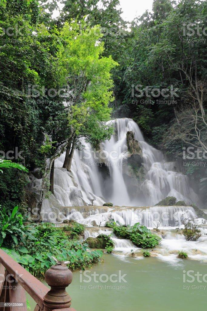 Main cascade-60 ms.drop-Tat Kuang Si-Deer Dig falls. Luang Prabang-Laos. 4169 stock photo
