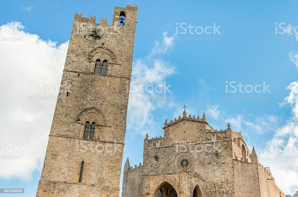 Main Cathedral of Erice, Italy stock photo