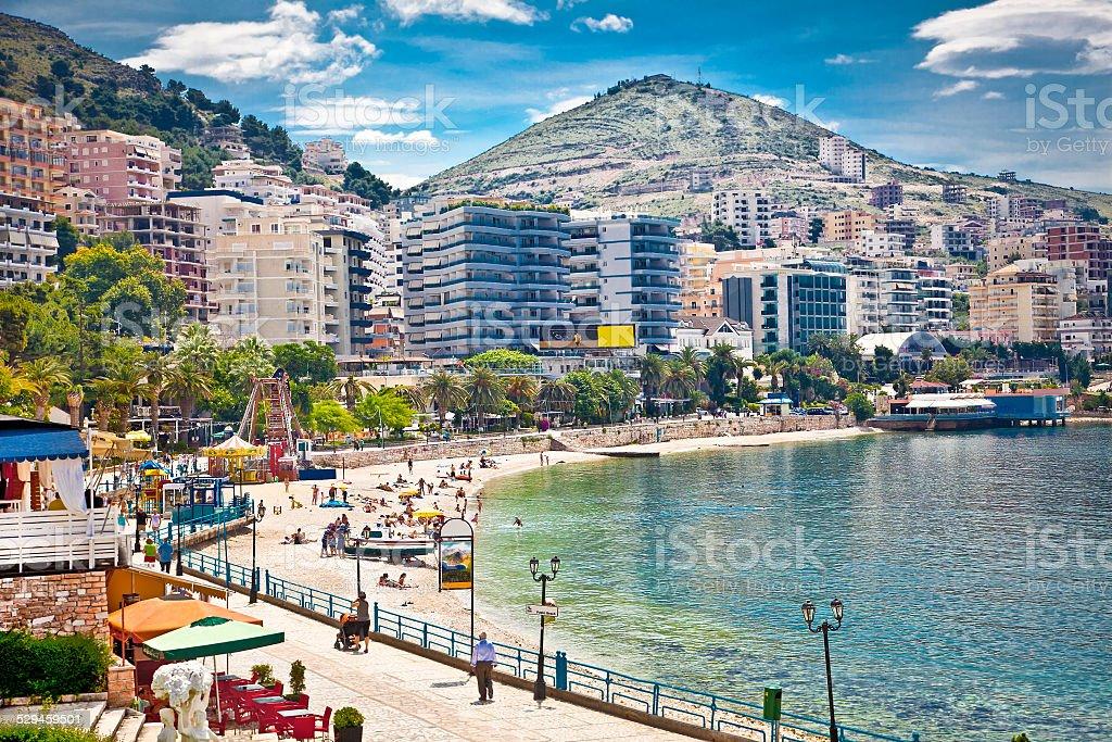 Main city promenade in Saranda, Albania. stock photo