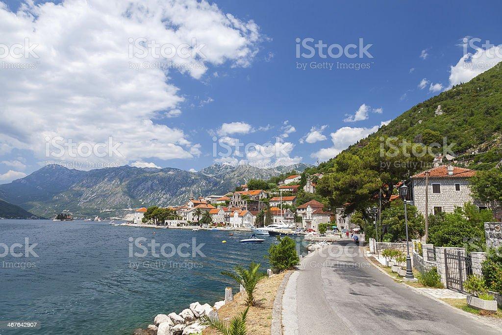 Main coastal road in old Perast, Bay of Kotor, Montenegro stock photo