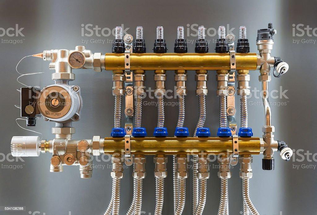 Main Control manifold of house heating stock photo