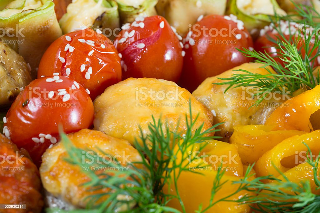 Main course. Meat garnished with vegetables stock photo