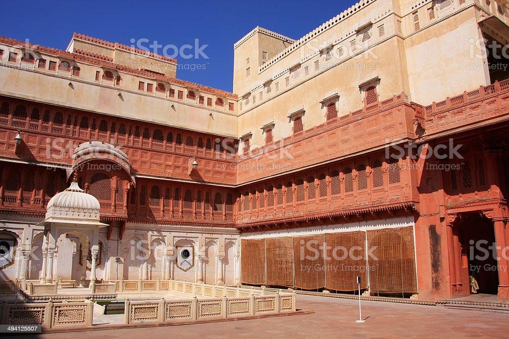 Main courtyard of Junagarh fort, Bikaner, India stock photo