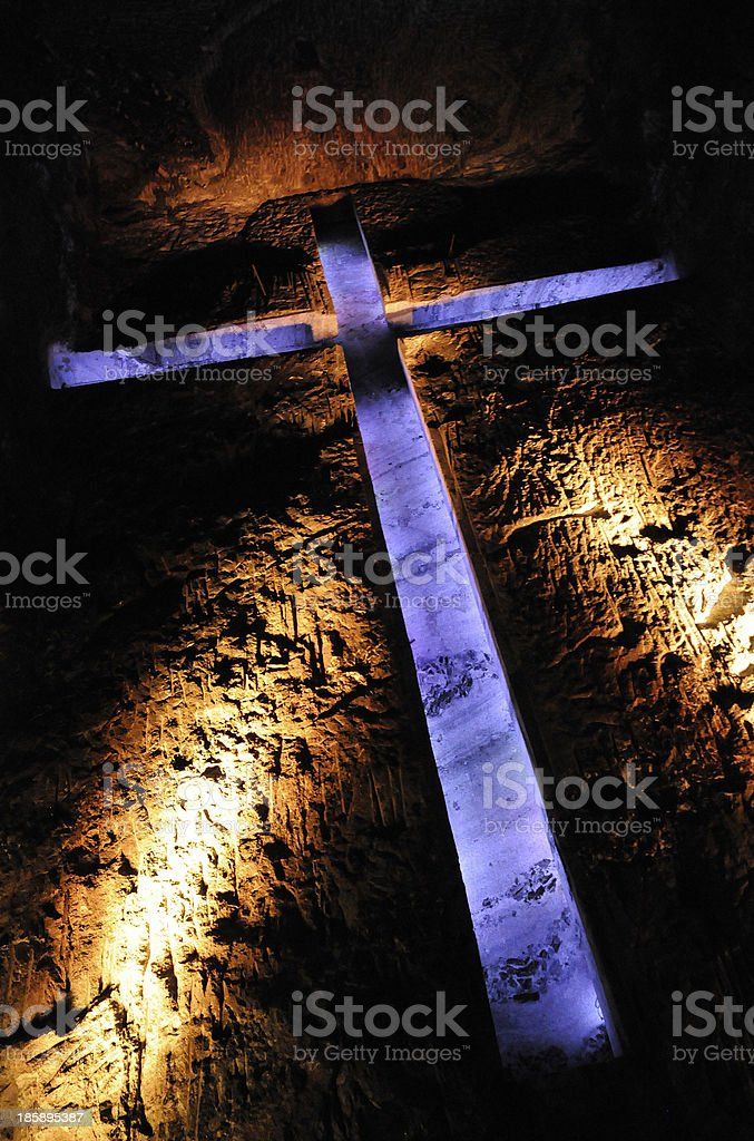 Main Cross of Zipaquirá's Salt Cathedral stock photo