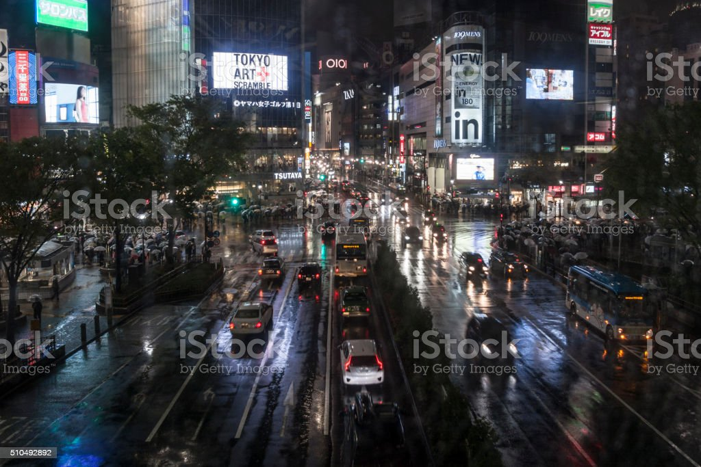 Main Crossing in Tokyo by night stock photo
