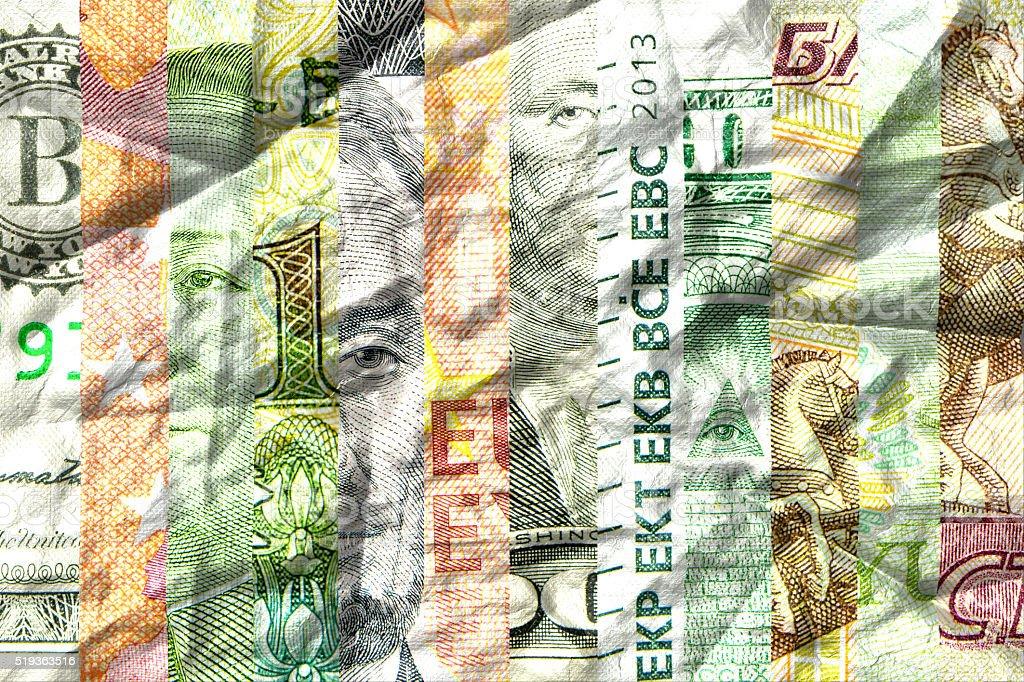 main currencies crumpled stock photo