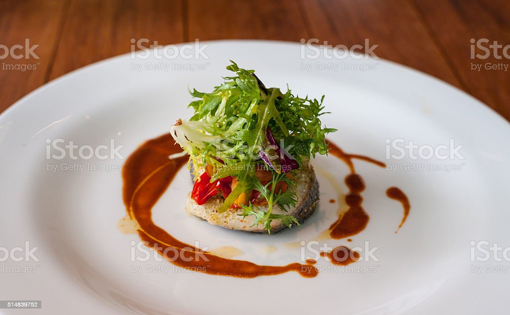 main dish. vegetable with fish stock photo