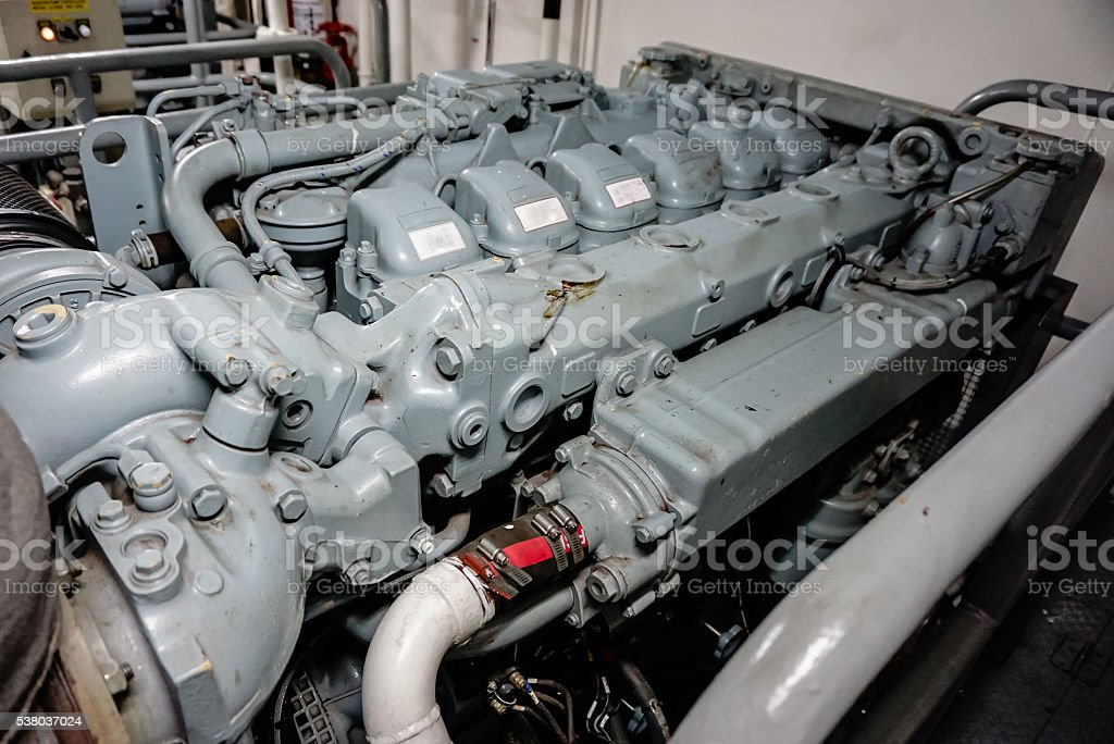 main engine of the ship stock photo
