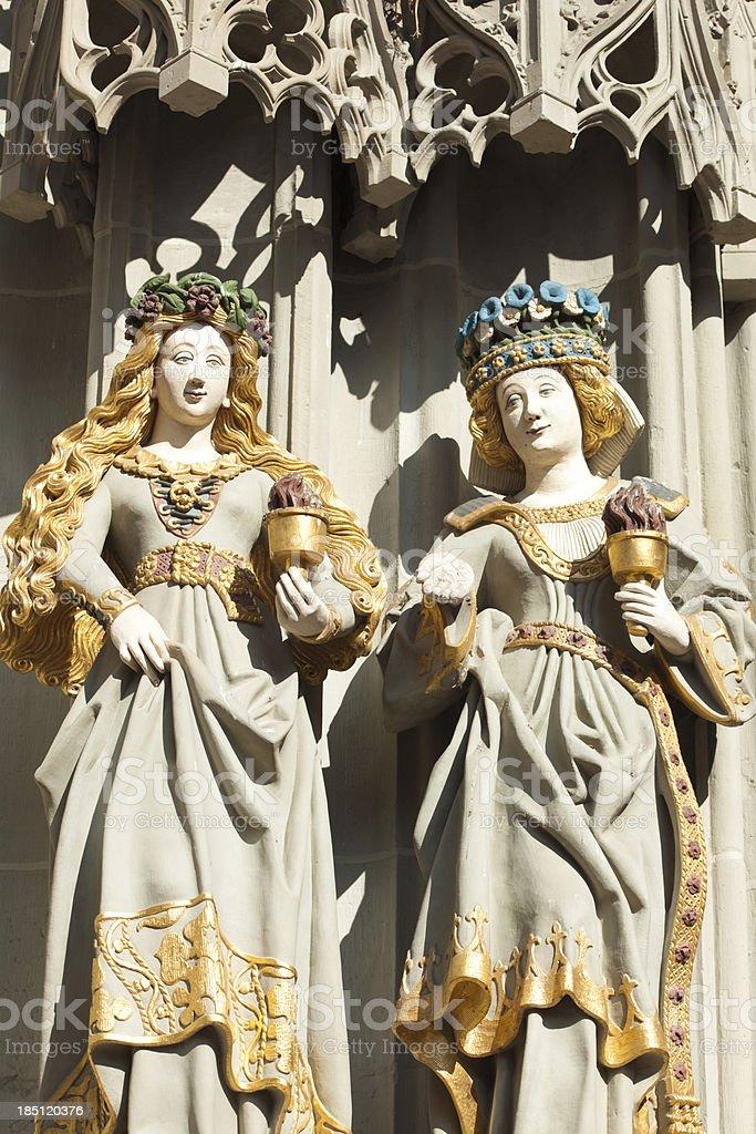 main entrance facade sculpture, Bern cathedral royalty-free stock photo