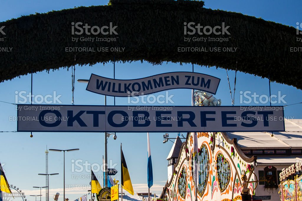 Main entrance gate to Oktoberfest fairground in Munich, Germany, 2015 stock photo