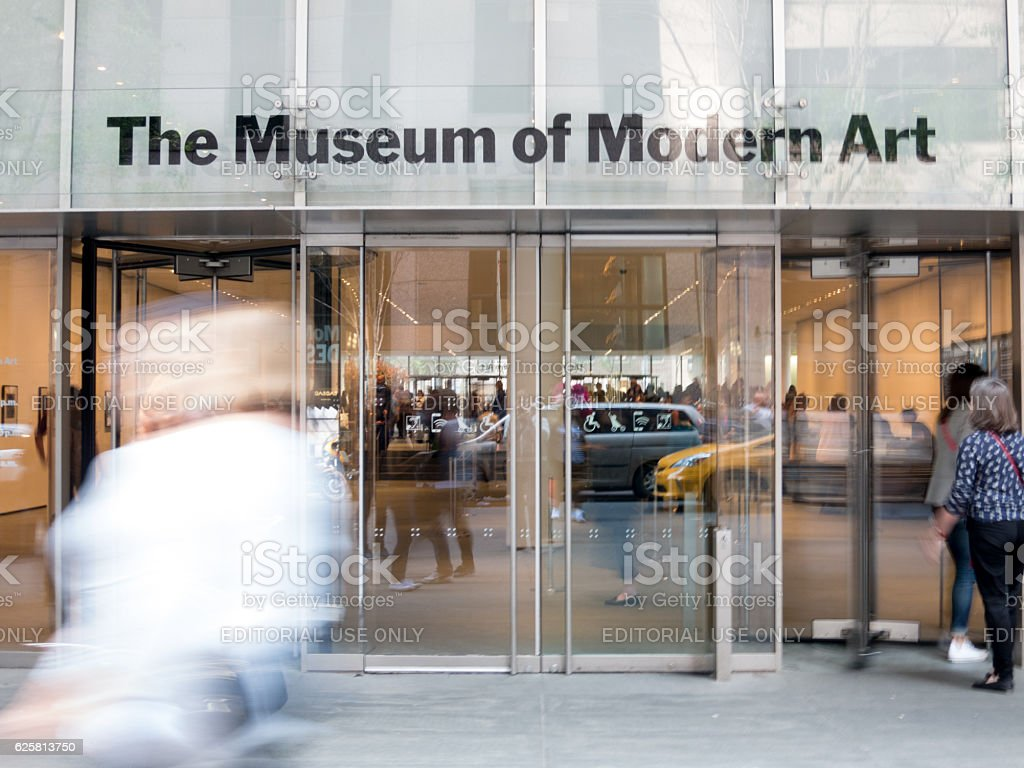 Main entrance MoMA in Manhattan, Blurred People stock photo