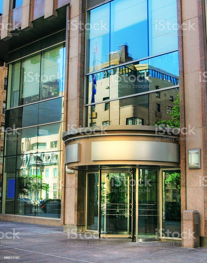 Main Entrance of a Classic Office Building stock photo