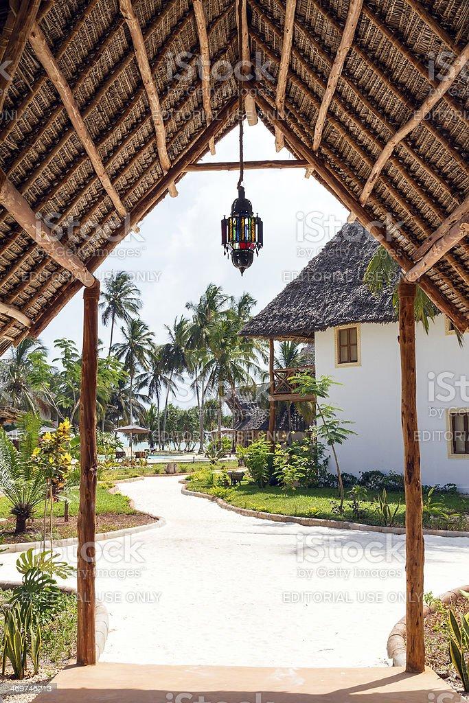 Main entrance of a tourist resort stock photo
