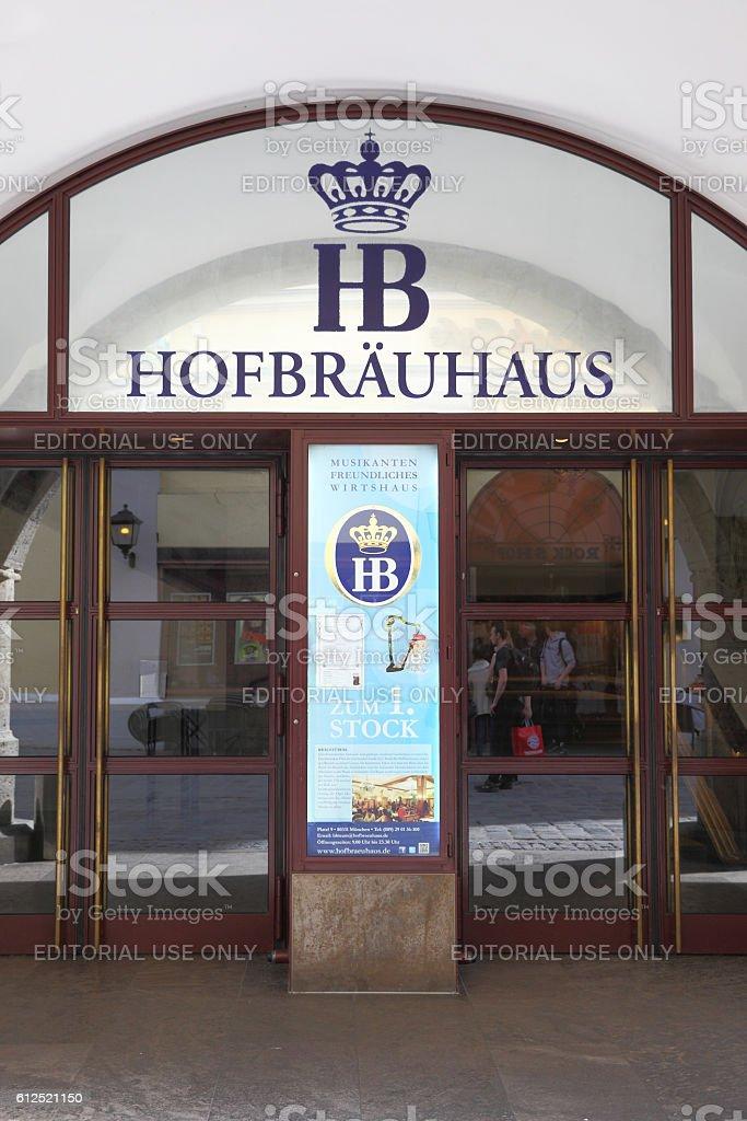 Main entrance of Hofbraeuhaus stock photo