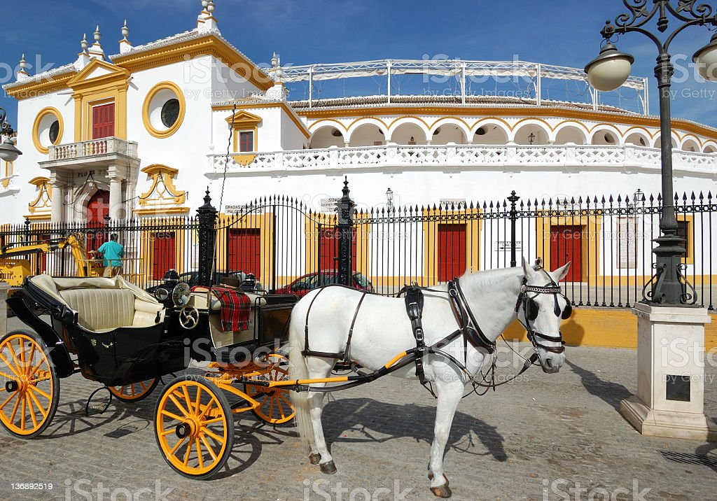 Main entrance of La Maestranza, Plaza de Toros,Sevilla,Spain stock photo