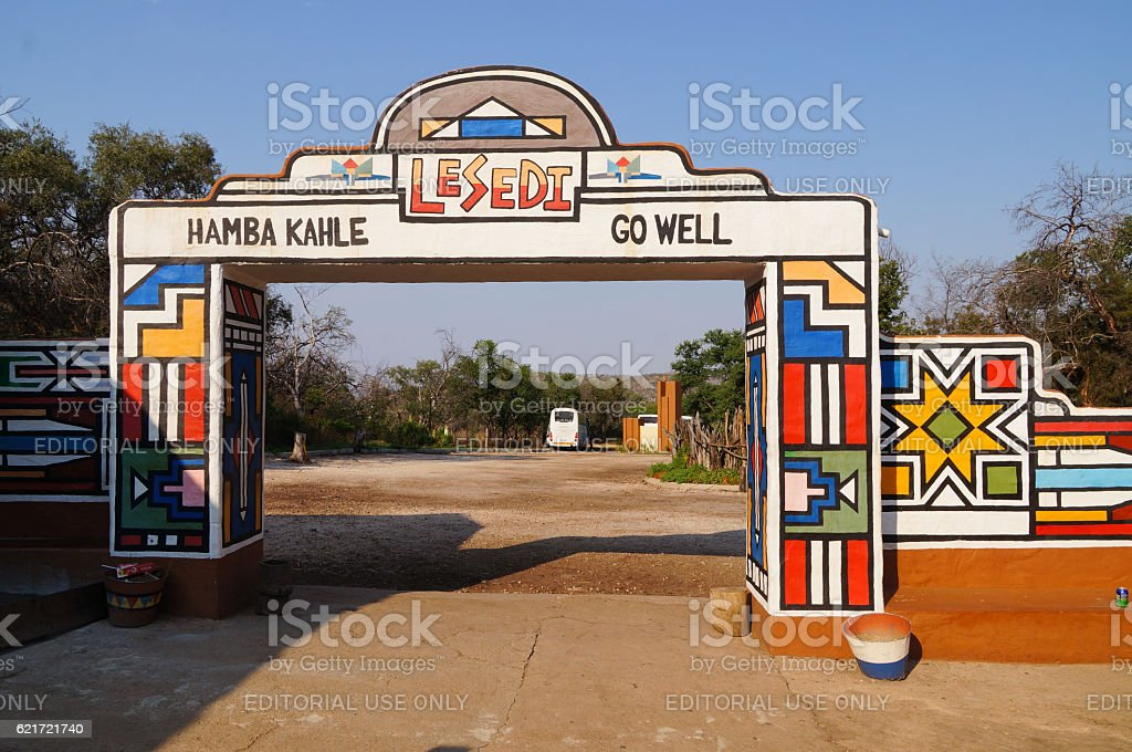 Main entrance of Lesedi Cultural Village  in South Africa. stock photo