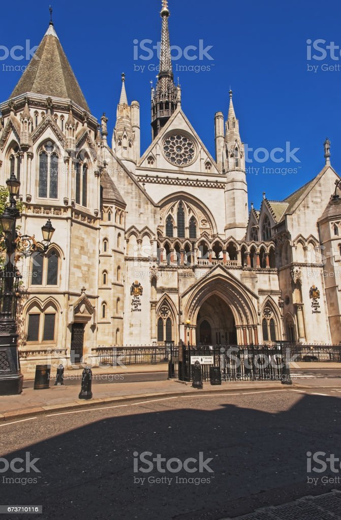 Main entrance of Royal Courts of Justice in London stock photo