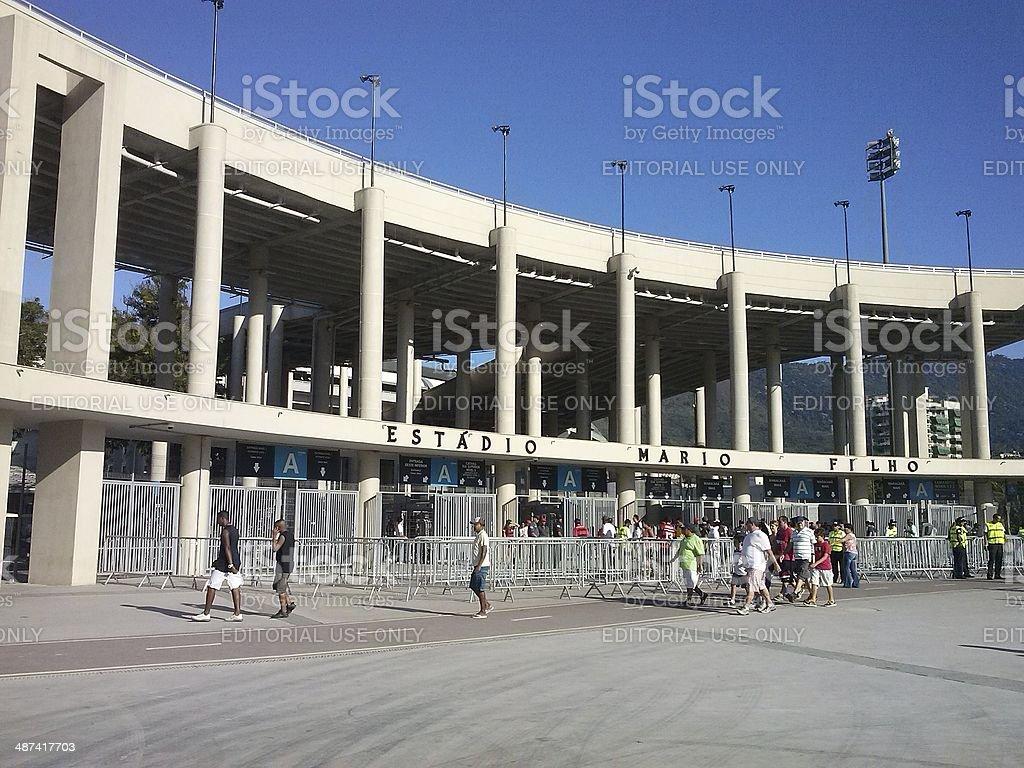 Main entrance of the Maracana stadium on game day royalty-free stock photo