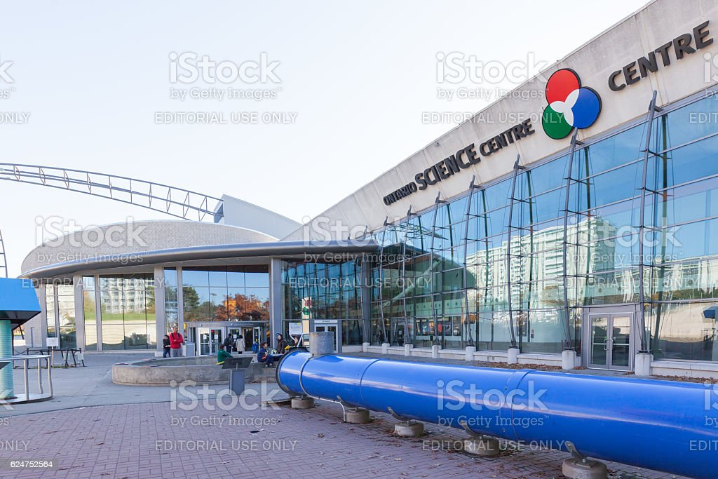 Main entrance of the Ontario Science Center in Toronto stock photo