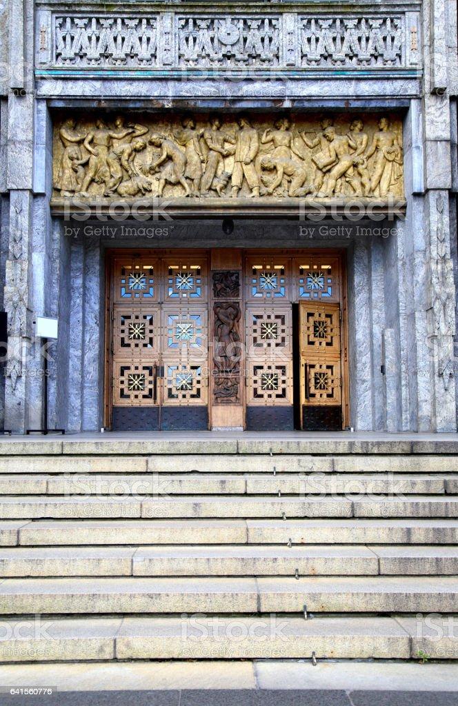 Main entrance of the Oslo City Hall in Oslo, Norway stock photo
