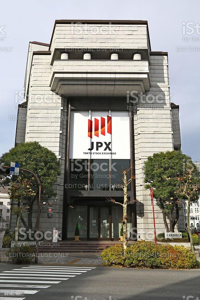 Main entrance of Tokyo Stock Exchange stock photo